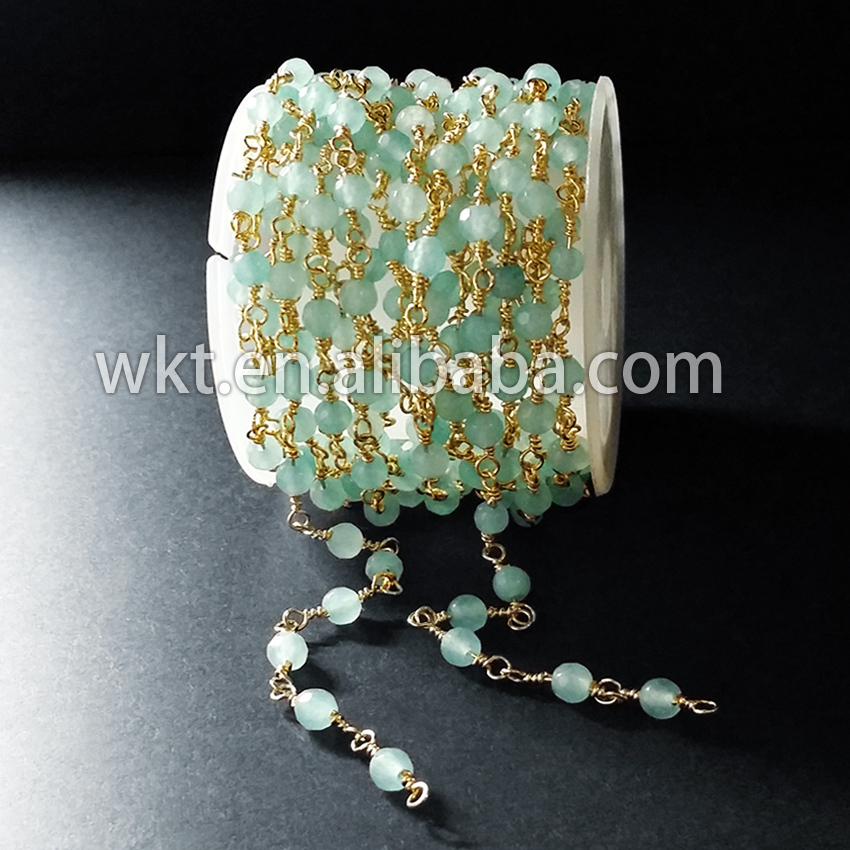 High quality gold electroplated handmake stone rosary chain light green stone wire wrapped chain WT RBC006