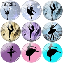 TAFREE Ballet Dancer Picture Beads 12mm-20mm Glass Cabochon Dome Cameo Pendant Settings Jewelry Findings & Components