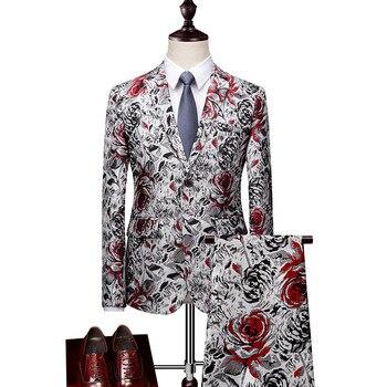 Men's suit men's printed casual suit two-piece suit (jacket + pants) men's quality gentleman ball party dress