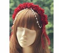 Princess Sweet Lolita Hairbands Detachable Hoop Beads Full Velvet Bow Rose Flower Ring Hoop KC Lolita