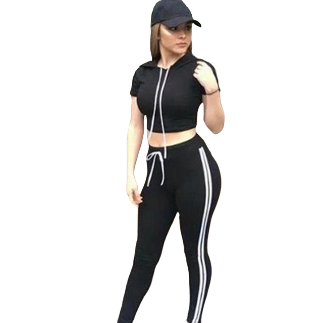 2 Pcs Workout Sets Women Short Sleeve Hooded Crop Top Long Pants 2017 Autumn Spring Stripe Sporting Tracksuit Sweatshirt Set