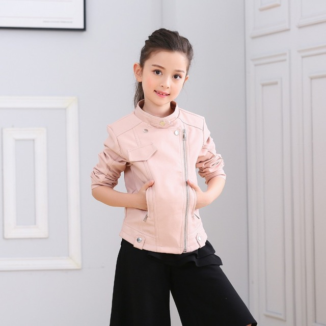 2017 Teenage Girls Pink faux leather jacket children's PU clothing ...