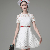 Summer short sleeve sexy hollow Fresh lady Lace elegance temperament pink white sky blue color sweet Leisure woman dress