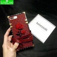 LoveCaseSoft TPU + teléfono móvil de la contraportada de cuero para iPhone 7 plus caja del teléfono caso para iPhone6 6 plus 7 bordado cordón bolsa