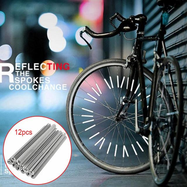 754c89792e1 12pcs/set Reflective Mount Clip Tube Warning Strip Bicycle Bike Wheel Spoke  Reflector mountain Rear Bike Reflector Light
