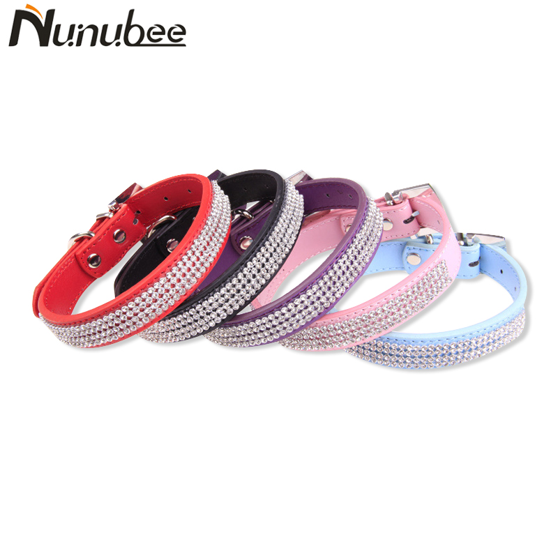Nunubee PU Leather Pet Collar Bling Rhinestone Crystal Diamond Puppy Pet Dog Collars Supplies Products S M L