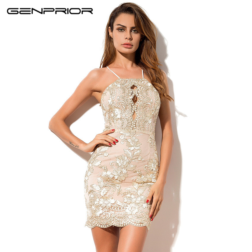 GENPRIOR 2017 Autumn Women Sexy Party <font><b>Ukraine</b></font> Hollow <font><b>Embroidery</b></font> Spaghetti Strap Sheath Bodycon Hip Vestidos <font><b>Dress</b></font> for Female image