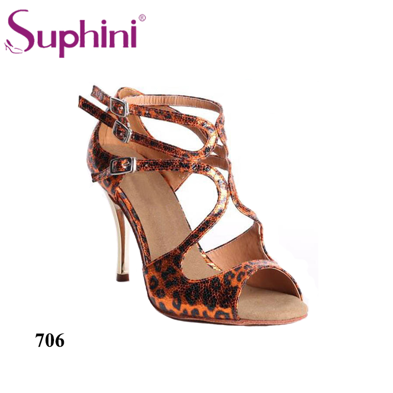 Free Shipping Suphini Leopard Print Orange Dance Shoes Female Party Shoes Tango Dance Footwear Shoes