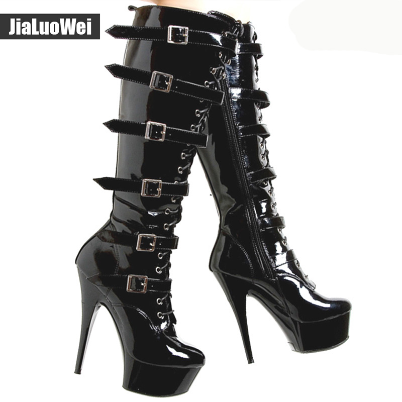 2019 New Knee High Boots Women Buckle Motorcycle Boots Extreme High Heel Platform Belt Strap Cross Tie Shoes Cool Winter Boots