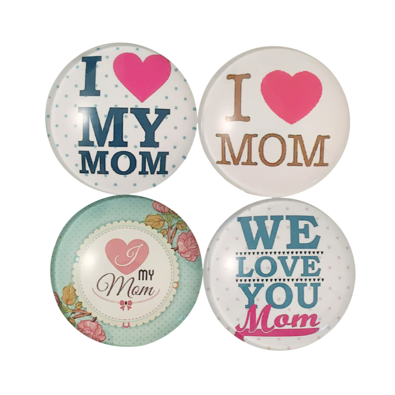 Love Mom Quote Fridge Magnet Round Glass Refrigerator Sticker Christmas Home Decoration Message Holder Wholesale Gift For Mom