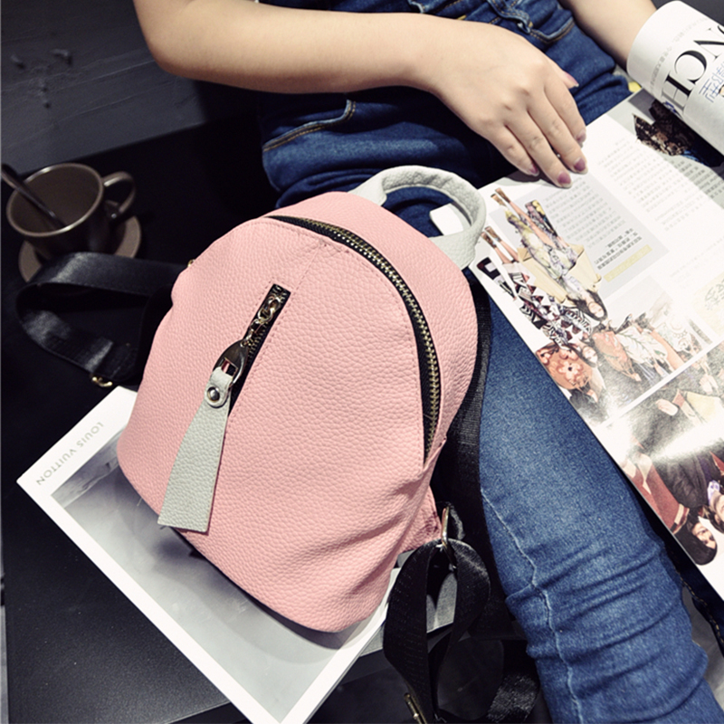 Preppy Style Women Backpack PU Ladies Backpacks Candy Color Korea School Style Solid Student Mini Backpack Pink Backpacks primary school students school bag 3 6 candy color preppy style backpack