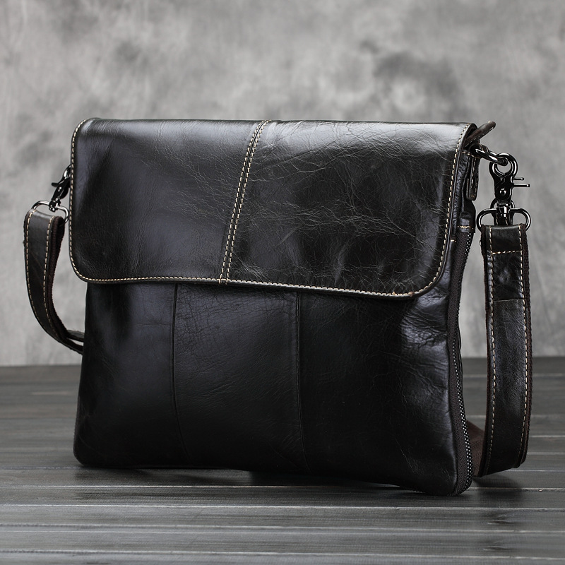 Business Oil Wax Genuine Leather Men Shoulder Bags Thread Fashion Male Handbag Small Crossbody Messenger Bag Travel Briefcase