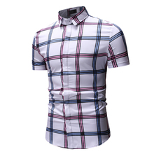 2019 new fashion plaid casual mens shirt summer youth urban trend large size short sleeve hot sale XXXL