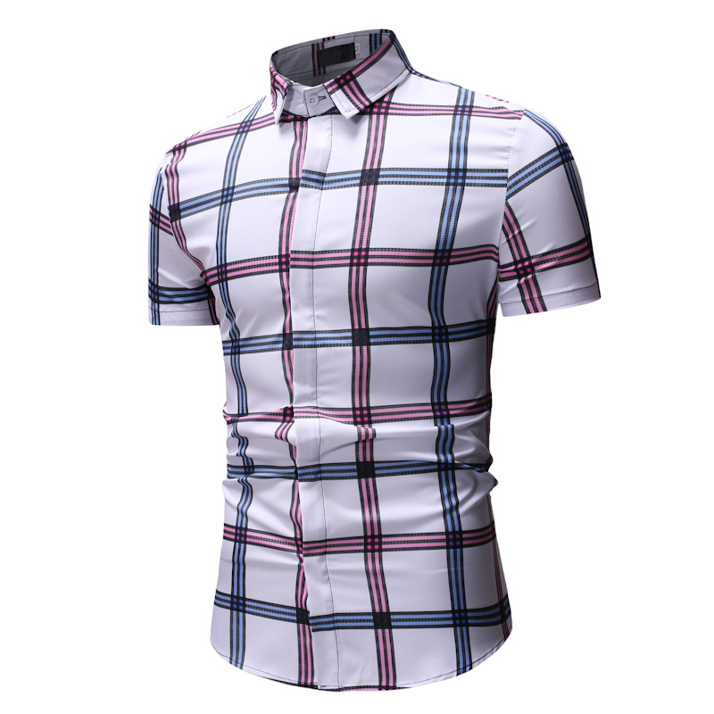 2020 new fashion plaid casual men's shirt summer youth fashion urban trend large size short sleeve shirt hot sale XXXL