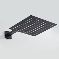 BAKALA 12 10 8 inch Rainfall Shower Head Stainless Steel Ultra thin Showerheads Rain Shower Black Square shower head