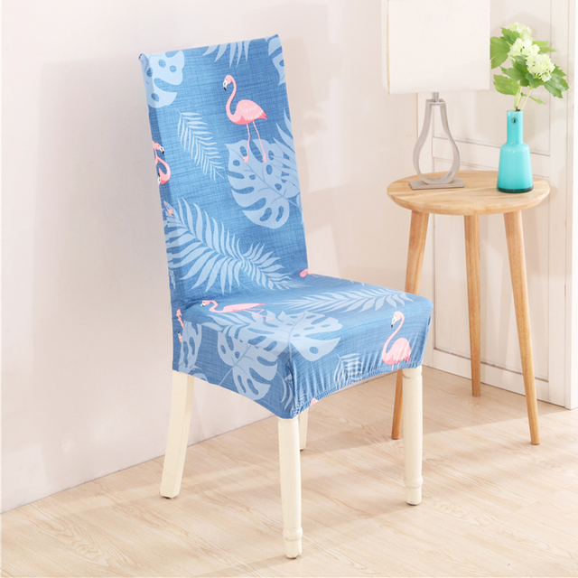Flamingo Floral Print Chair Covers Stretch Spandex Elastic Dustproof  Washable Banquet Wedding Dining Party Seat Cover