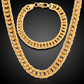 18K Real Gold Plated Necklace Bracelet Set Party Jewelry Cuban Chain Hiphop Necklace Bracelet Men Jewelry Beauty Makeup Tool Kit