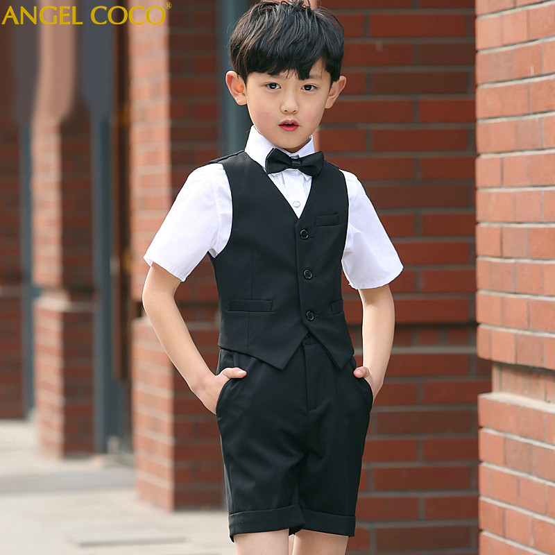 Fashion Short Black Baby Boys Suit Kids Blazers Boy Suit For Weddings Prom Formal Summer Wedding Dress Boy Suits Terno Infantil kids blazers jackets blue patchwork clothing set for baby clothes boys wedding dress children lounge suit terno infantil blazers