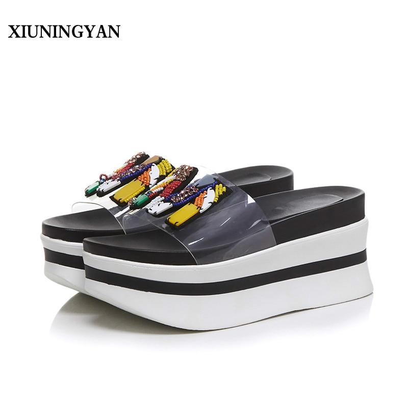 XIUNINGYAN Platform Wedge Slippers Women Transparent Flip Flops M Letter Decoration Slipper Slides Summer Shoes Beach Sandals