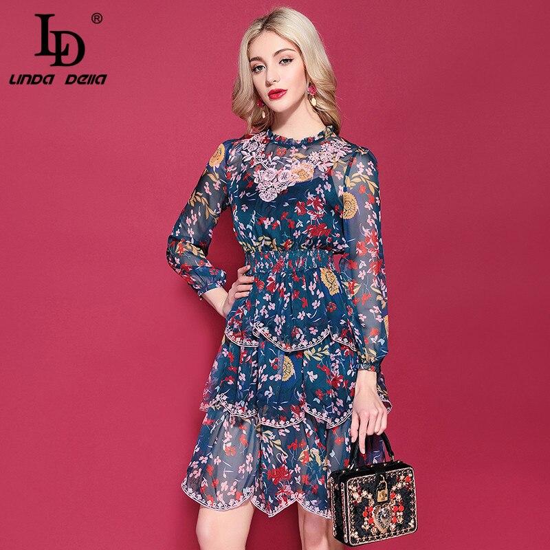 LD LINDA DELLA Floral Print Holiday Chiffon Dress 2019219