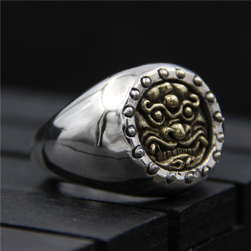 C&R 925 Sterling Silver Rings retro personality brave gold face troops opening mens ring Fine Jewelry Size 9-10 Adjustable