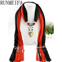 Fashion Woman Ladies Color Owl Pendant Scarf Jewellery Necklace Beads Life Trends