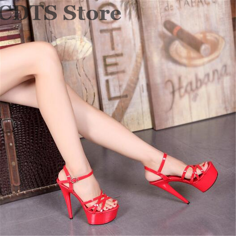 ФОТО CDTS Plus:35-44 Free shipping 2016 brand Crossdresser Pumps summer sexy 15cm thin heels Ankle-strap woman sandals wedding shoes