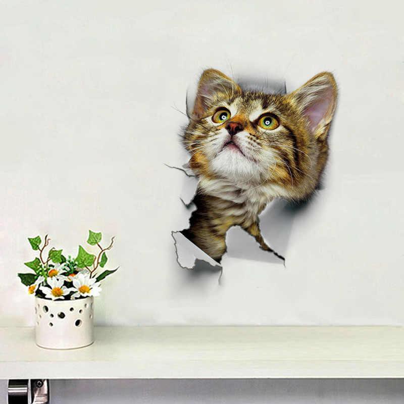 חמוד 3D חתול טפט לקשט אמבטיה אסלת סלון בית תפאורה מדבקות רקע PVC מדבקות Wallpapersc CLH @ 8