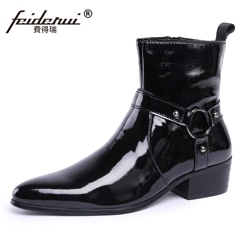 New Luxury Cowboy Punk Rocker High-Top Man Shoes Vintage Patent Leather Men's Pointed Toe Martin Motorcycle Ankle Boots JS82 plus size vintage pointed toe man metal tipped martin shoes handmade designer genuine leather men s punk rocker ankle boots sl18