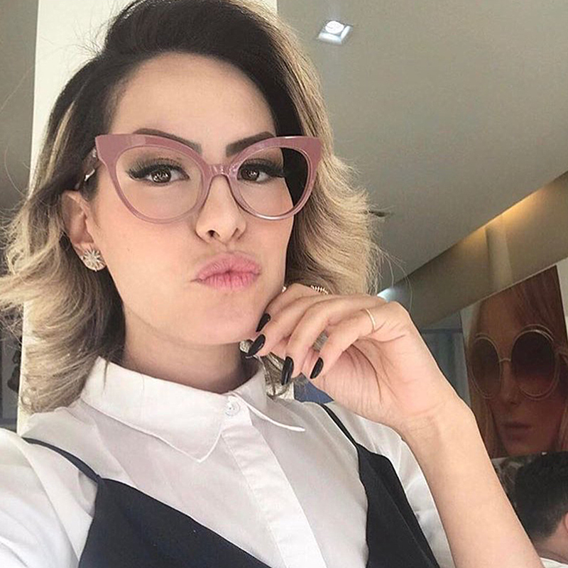 dca5e0dd896 מסגרות משקפי שמש - Kottdo Fashion Brand Cat Eye Glasses Women Plain Clear  Lens Eyeglasses Retro Eyewear High Quality Vintage Optical Glasses Oculos