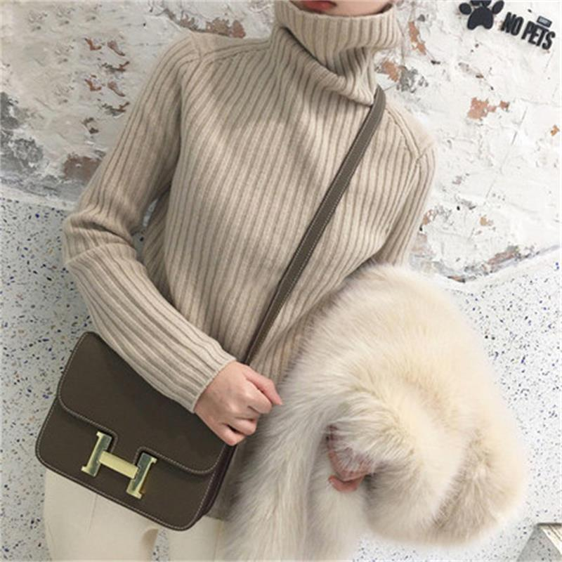 Gejas Ainyu 18autumn Winter Cashmere Sweater Female Pullover High Collar Turtleneck Sweater Women Solid Color Lady Basic Sweater