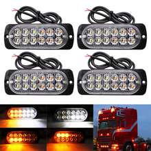 лучшая цена 12 LED Strobe Warning Light Grille Flashing Breakdown Emergency Light Motorcycle Car Truck Beacon Lamp Traffic Signal Light 12V