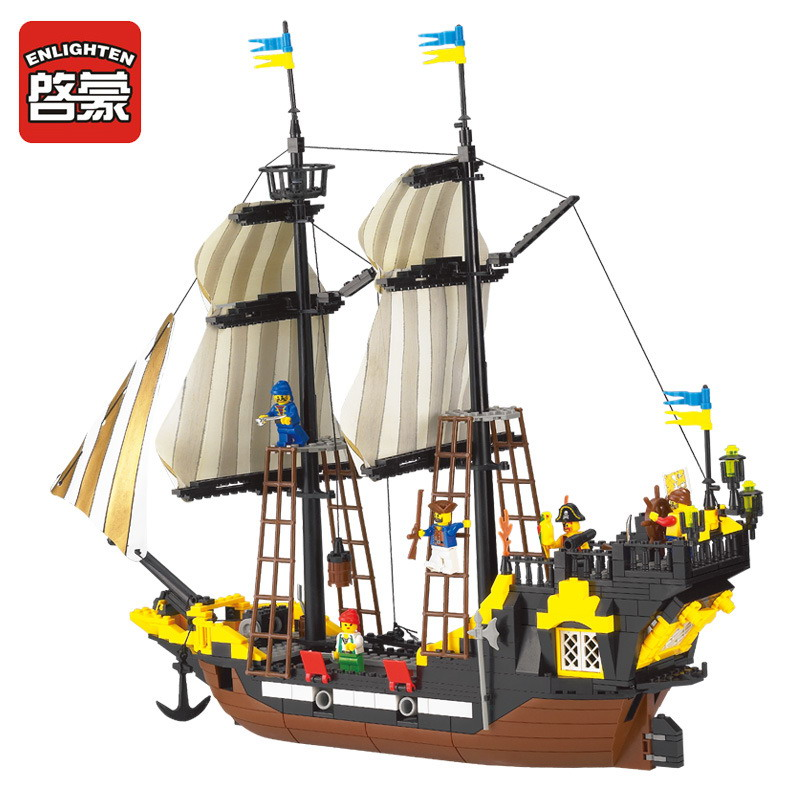 ENLIGHTEN 307 Pirate Baot Super Ship Weapons Adventure Figure Blocks Compatible Legoe Construction Building Toys For Children ship construction