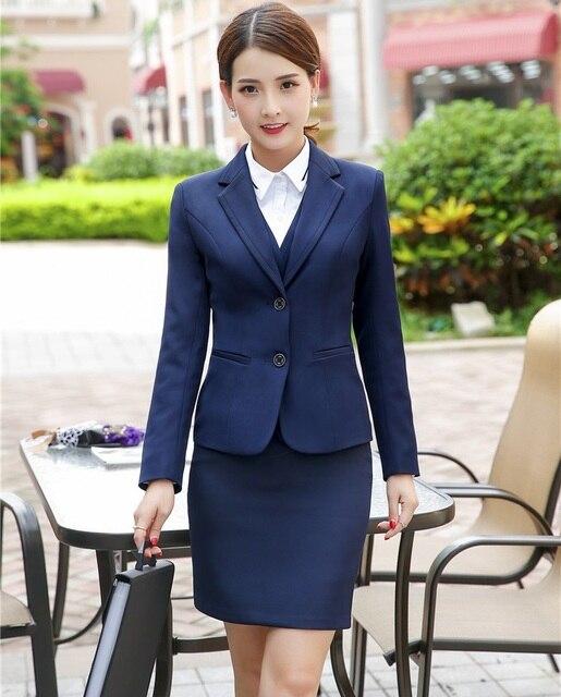 Formal azul oscuro blazer mujeres negocios Trajes con falda y chaqueta Sets  elegante señoras trabajo desgaste 15361267373