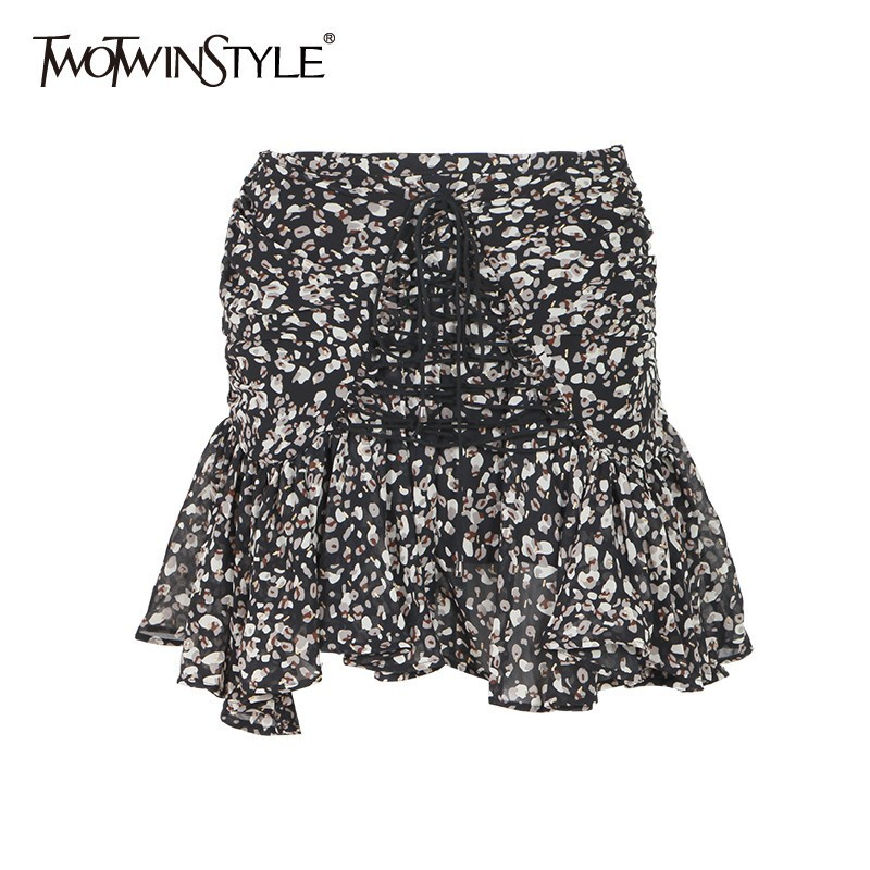 TWOTWINSTYLE Sexy Print Women Skirt High Waist Bandage Asymmetrical Short Pleated Skirts Female Summer 2020 Vintage Fashion