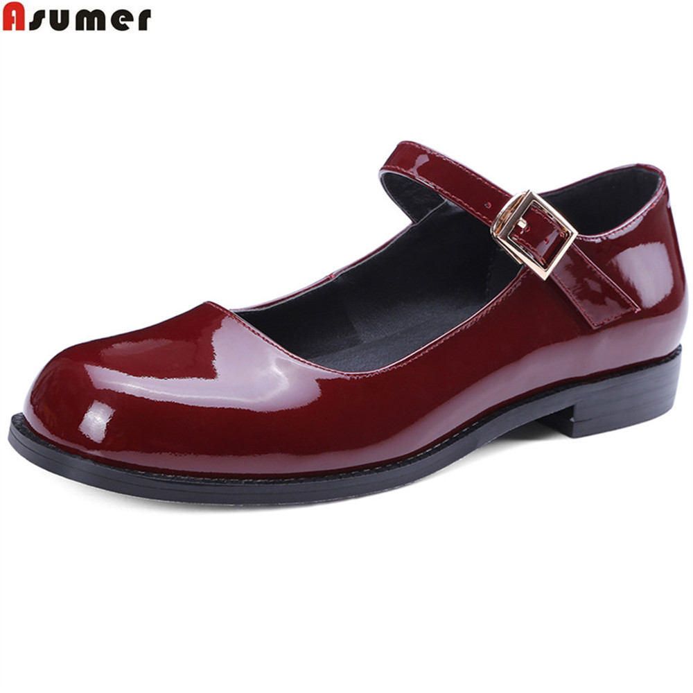 Asumer black wine red fashion Apring autumn women pumps square toe ladies cow patent leather shoes buckle low heels shoes asumer 2018 fashion apring autumn new