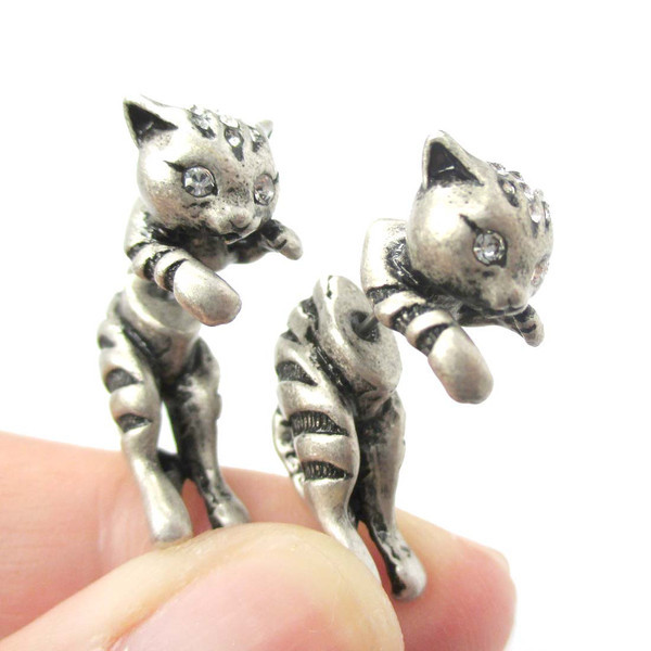 Jisensp New Style Hot Sale 3d Adorable Kitty Cat Themed Stud Earring Animal Realistic Earrings Fine Jewelry for Ladies and Girls