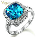 VOGEM New 2017 Blue Gem Rings For Women Platinum Plated Valentines Day Jewelry with Precious Stones Bijoux Anel Turkish Jewelry