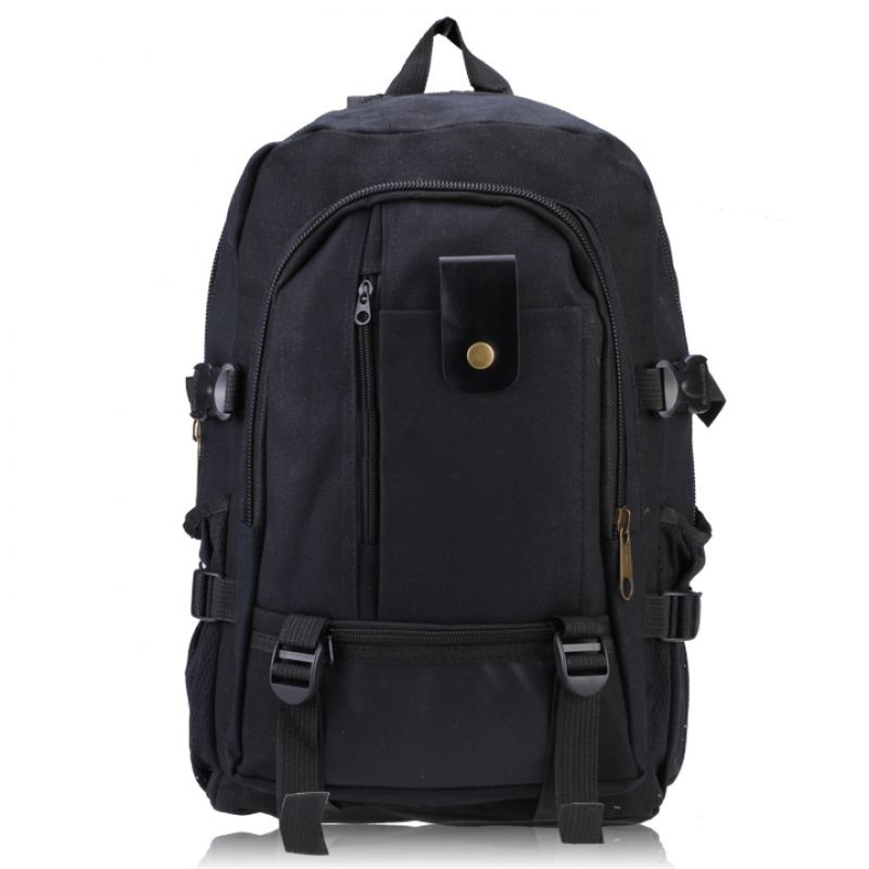 Male Retro Leisure Tourism Canvas Backpack Black