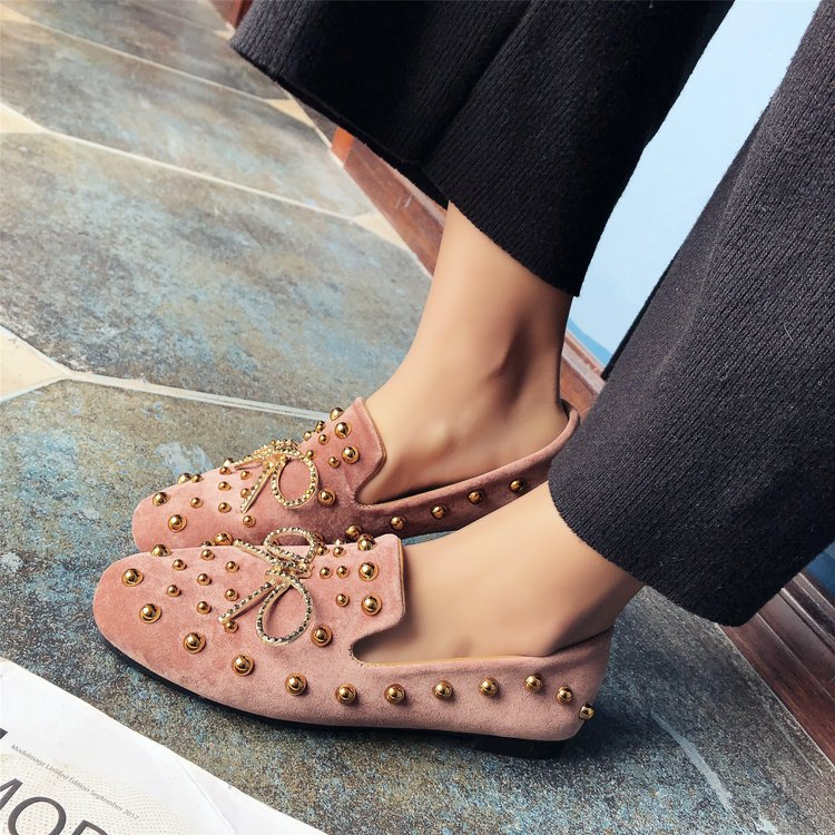HIZCINTH 2018 Spring Women's Shoes Sweet Bowknot Rivet Round Toe Single Ballet Flats Shoes Woman Casual Student Suede Loafers siketu sweet bowknot flat shoes soft bottom casual shallow mouth purple pink suede flats slip on loafers for women size 35 40