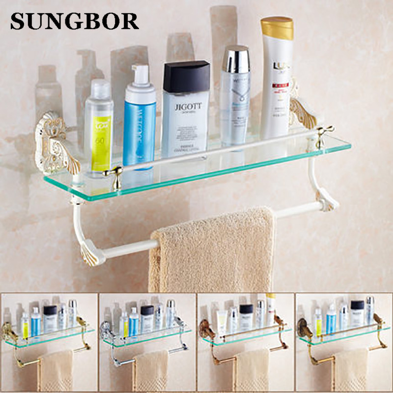 White/Antique Brass Bathroom Single-Tier Bathroom Glass Storage Rack Wall Mount Bathroom Shelf with Towel Bar SL-5813R whole brass blackend antique ceramic bath towel rack bathroom towel shelf bathroom towel holder antique black double towel shelf