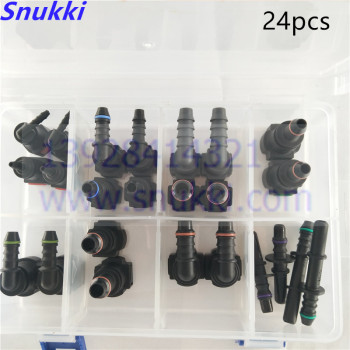 High quality SAE Fuel Urea pipe fittings  one set auto Fuel line quick connector plastic fittings kit whole set total 24pcs