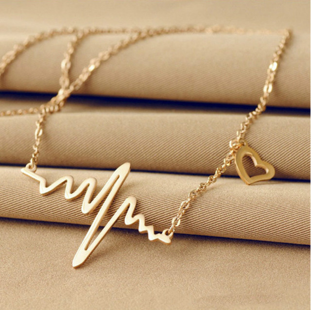 5f22a0cf1 Ecg Necklace Love Shaped Titanium Steel Heartbeat Lockbone Chain Heart  Pendant Necklace Female Retro Necklace Jewelry Accessorie
