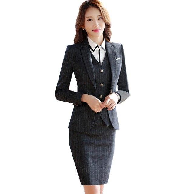 dcfe60f84d2eb Fmasuth chaqueta formal traje chaqueta invierno manga completa raya chaqueta  + falda 2 unidades Oficina uniforme