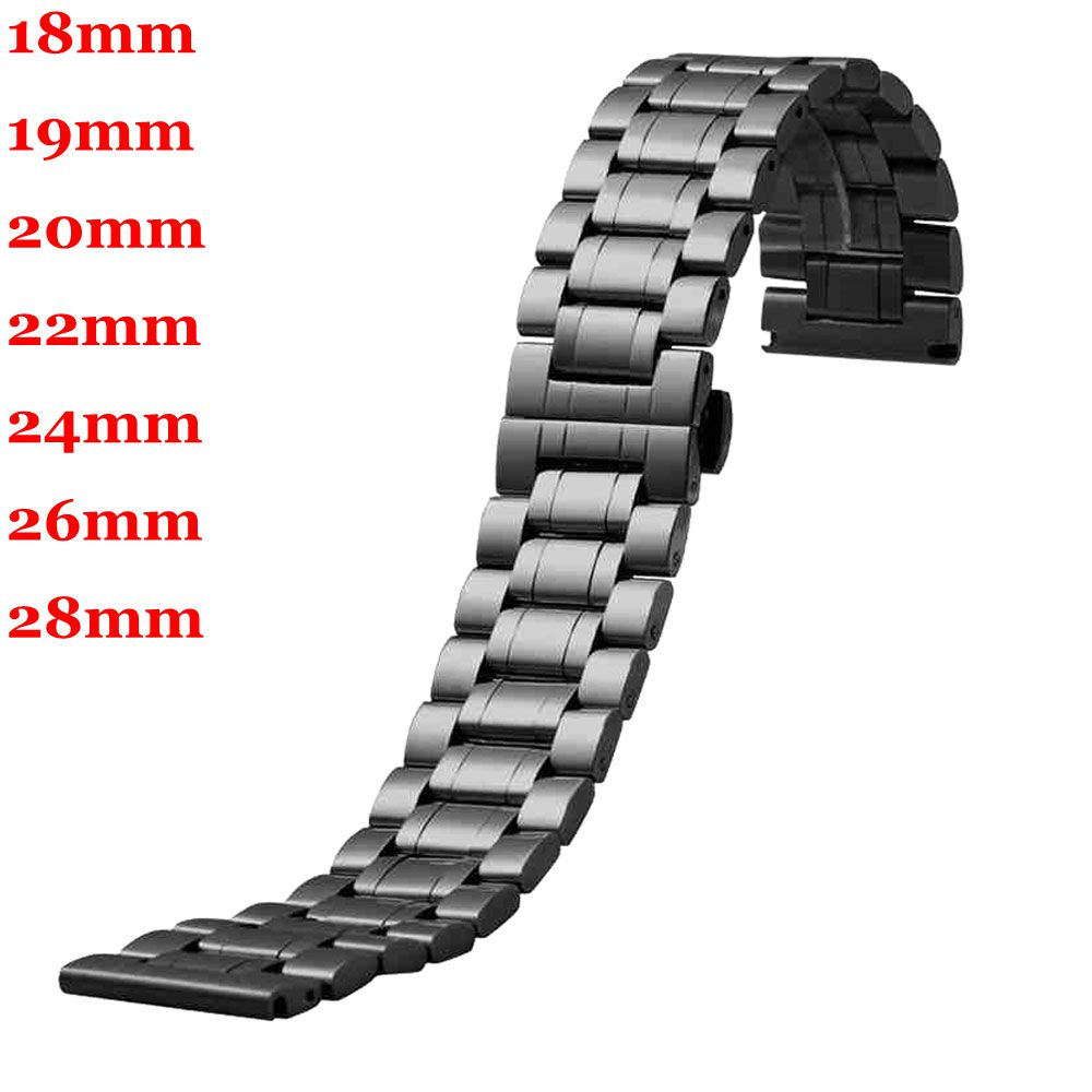 Replace Watch Straps 18mm/19mm/20mm/22mm/24mm/26mm/28mm Solid Mens Black Stainless Steel Band Wrist Watch Band Strap Watchband dahase 14mm 16mm 18mm 19mm 20mm 21mm 22mm 24mm solid classic stainless steel watch band strap watchband free shipping