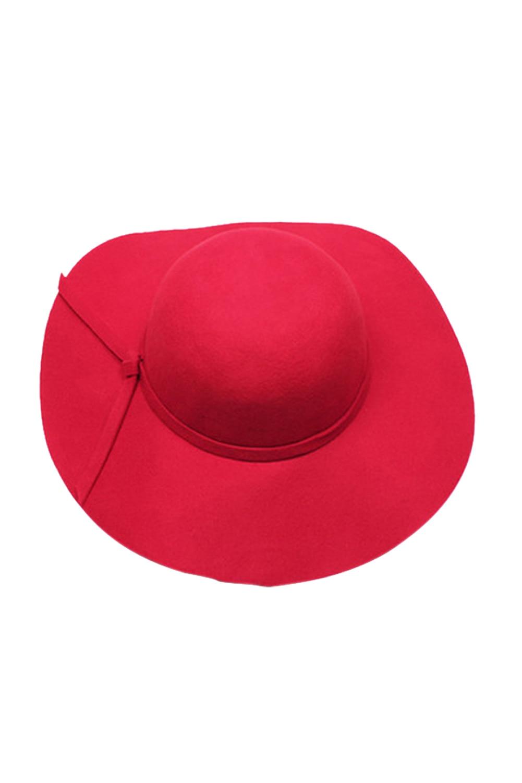 SAF-Stylish Kids Girls Wide Brim Retro Felt Bowler Floppy Cap Cloche Hat-Red