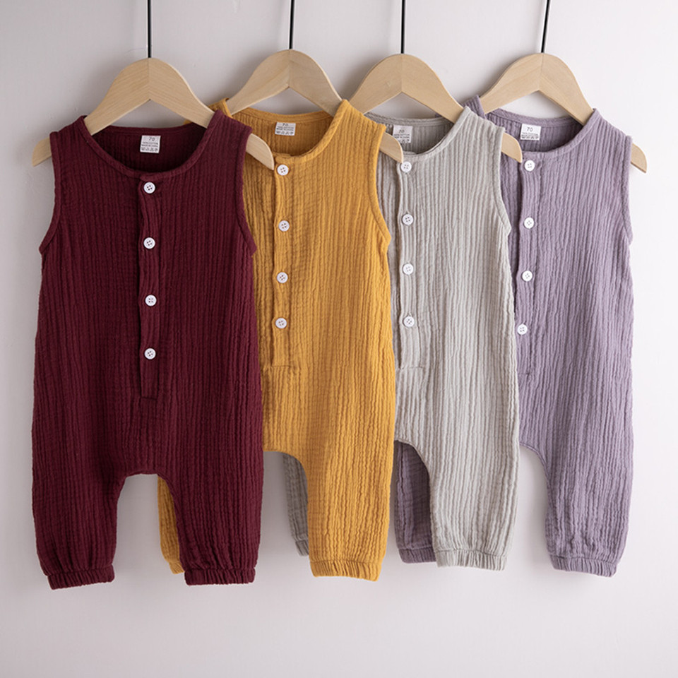 Summer Infant Baby Boys/&Girls Sleeveless Solid Romper Bodysuit Newborn Clothes