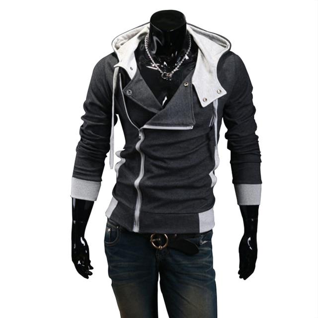 2018 Casual Cardigan Men Hoodie Sweatshirt Long Sleeved Slim Fit Male Zipper Hoodies Assassins Creed Jacket Plus Size M-6XL