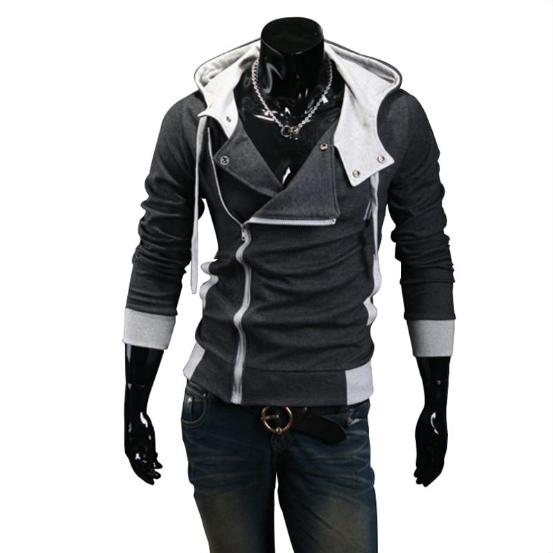 2018 Casual Cardigan hombres Sudadera con capucha de manga larga Slim Fit Hombre cremallera sudaderas Assassins Creed Chaqueta talla grande M-6XL