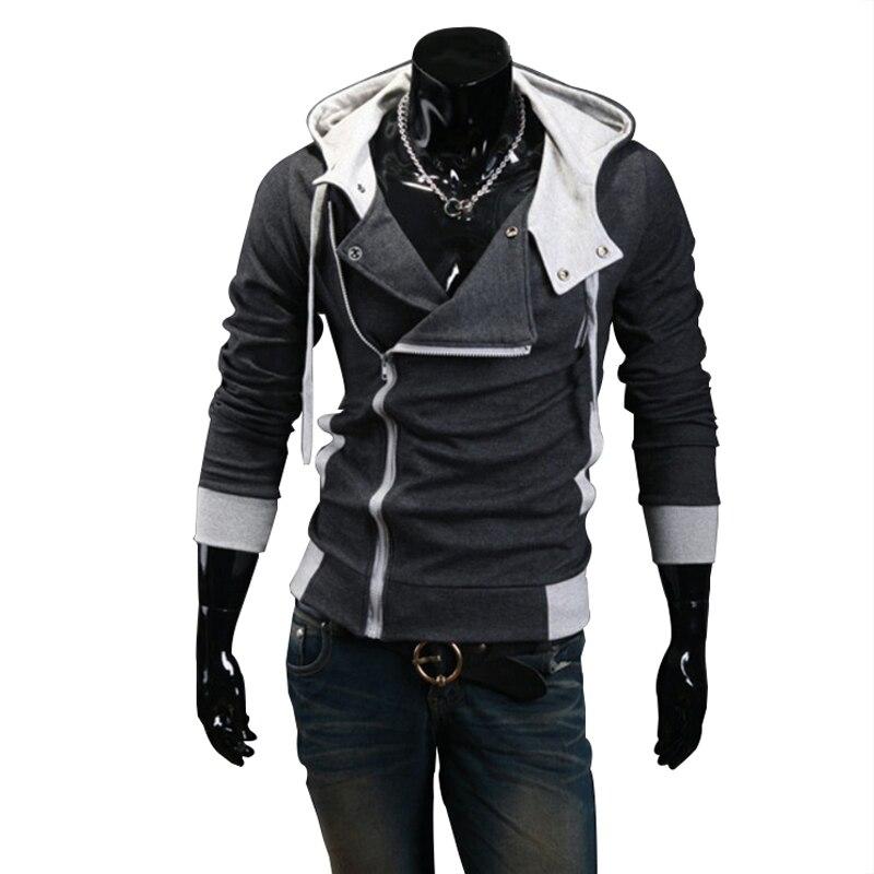2018 Casual Cardigan hombres Sudadera con capucha manga larga Slim Fit Hombre Zipper Hoodies chaqueta más tamaño M-6XL